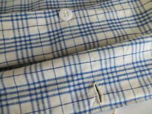 Unused Blue White Linen Duvet Cover Plaid Fabric Single Bed Twin 49 By 69