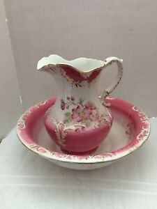 Antique Pitcher And Bowl Set Pink Roses