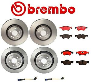 For Mercedes W164 Front And Rear Disc Brake Rotors And Pads Sensors Brembo Kit
