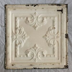 1890 S 12 X 12 Antique Tin Ceiling Tile Ivory Metal Reclaimed Anniversary 35 19