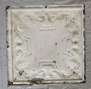 1890 S 12 X 12 Antique Tin Ceiling Tile White Metal Reclaimed Anniversary 41 19
