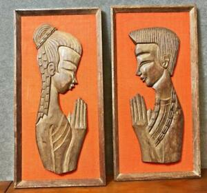 Danish Modern Sculptural Wood Wall Art Pair Mid Century Orange Picture Hanging 2