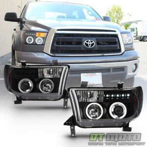 For 2007 2013 Toyota Tundra Sequoia Led Ccfl Blk Projector Headlights Left Right