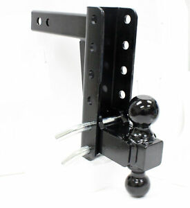 Adjustable Heavy Duty Drop Rise Trailer Tow Hitch Dual Mount Ball Boat Truck Rv
