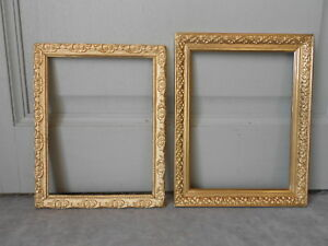2 French Vintage Wood Gilded Stylish Picture Frames Plaques