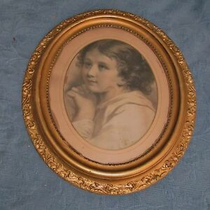 Antique Victorian Gold Oval Picture Frame Lithograph Print Of Little Girl