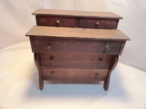 Vintage Antique Primitive Doll Handmade Dresser Wood Salesman Sample