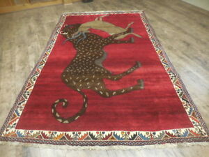 Ca1950s Vgdy Antique Qashqai Yalameh Hunting Lion 5x8 1 Estate Sale Rug