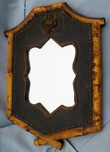 Handmade Victorian Style Mirror Of Embossed Leatherette Wood Bamboo