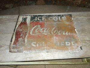 Vintage EARLY 1920s DRINK ICE COLD COCA COLA COKE SODA Advertising BOTTLE SIGN