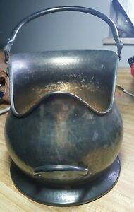 Hammered Metal Coal Scuttle Ash Bucket Gold Shiny Fireplace Planter Traditional