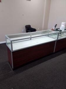 Jewelry Showcase 6 Case Glass Wood Used Store Fixtures Upscale Led Lights Locks
