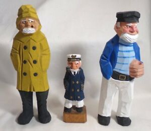 3 Folk Art Hand Carved Wooden Nautical Sailors Figurines