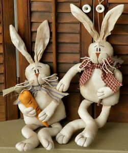 New Primitive Folk Art Bunny Rabbit Couple Girl Boy Carrot Easter Doll 16