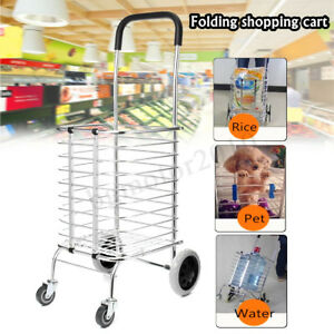 Portable Folding Shopping Basket Cart Trolley Trailer W 4 Swivel Wheel Aluminum