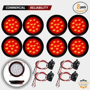 8x 4 Round 12 Led Trailer Tail Lights Red Turn Stop Brake Truck Universal Clear