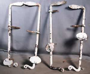 2 Pair Antique Blacksmith Wrought Shutter Dogs Latches Ohio Folk Art Paint 4 Old