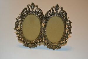 Vintage Dual Double Ornate Cast Metal 3 5 X2 5 Victorian Standing Picture Frame