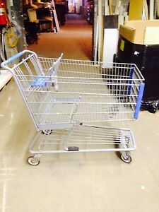 Used Shopping Carts Gray Metal Blue Grocery Discount Store Fixtures Large Size