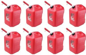 8 Midwest 6600 6 Gallon Red Plastic Gas Cans Containers W Spill Proof Spouts
