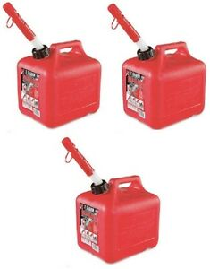 3 Midwest 2300 2 Gallon Red Plastic Gas Fuel Cans Containers For 2 Cycle Oil