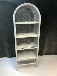 Vintage White Wicker Bookshelf Mid Century Wall Bookcase Shelf Boho Shel