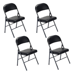 4pcs Folding Home Chairs Fabric Upholstered Padded Seat Metal Frame Furniture