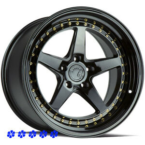 Aodhan Ds05 18 X9 5 10 5 Black Staggered Rims Wheels 5x4 5 04 Ford Mustang Cobra
