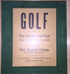 Vintage Antique Sign Golf Club Pine Meadow Country Nh
