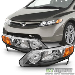 For Black 2006 2011 Honda Civic 4dr Sedan Headlights Headlamps 06 11 Left right