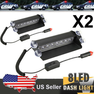 2x 8 Led Dash Strobe Flash Light Emergency Warning 3 Mode Red Blue For Car Truck