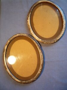 Set 2 Matching Rustic Antique Vintage Oval Picture Frame Frames Matting Glass