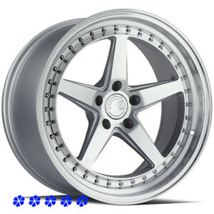 Aodhan Ds05 18 15 Silver Staggered Rims Wheels 5x4 5 98 04 Ford Mustang Cobra R