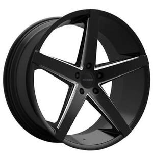 22 Staggered Paragon Wheels Rosso Affinity Gloss Black Milled Rims