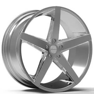 22 Staggered Paragon Wheels Rosso Affinity Chrome Rims