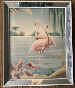 Vintage Turner Tropical Flamingo Mirror Frame Wall Hanging Mid Century Modern