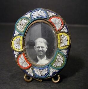 Antique Micro Mosaic Minature Oval Picture Frame Made In Italy Wow