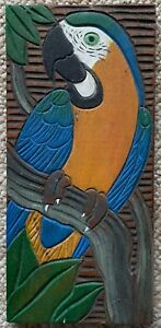 Vintage 60s 70s Wood Panel Parrot Bird Carving Wall Hanging Mid Century Modern