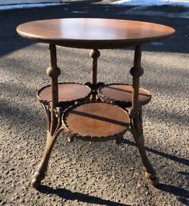 Victorian Oak Parlor Table Wicker Heywood Wakefield Style Rare Lamp Occasional