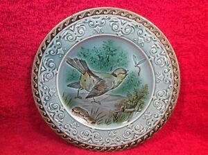 Antique Plate French Majolica Bird Dragonfly Victorian Plate C1790 1830 Gm611