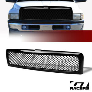 For 1994 2002 Dodge Ram Glossy Black Mesh Front Bumper Grill Grille Guard Abs