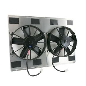 Universal Dual Fan 25 3 4 Radiator Fan Shroud Kit With Fans