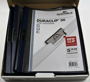 Durable Vinyl Duraclip Report Covers W clip Letter Holds 30 Pages Clear navy Box