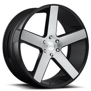 New4 set 28 Dub Wheels Baller S217 Gloss Black With Brushed Face Rims