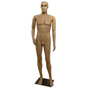 6ft Male Full Body Mannequin Plastic Realistic Display Head Turn Dress W base