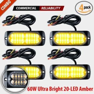 4pcs 20 Led Strobe Lights Emergency Yellow Amber Flashing Warning Beacon 12v 24v