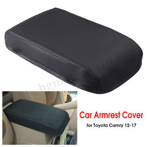 Black Pu Leather Car Armrest Center Box Cover For Toyota Camry 2012 2017 Usa