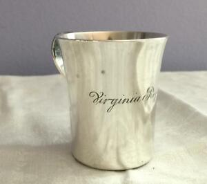 1940s Tiffany Sterling Silver 2 Handled Baby Cup 22499 Engr Virginia Roper Fox