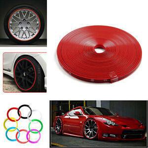 8m Long Car Wheel Rim Edge Rubber Protector Ring Sticker Tire Guard Strip Red Us