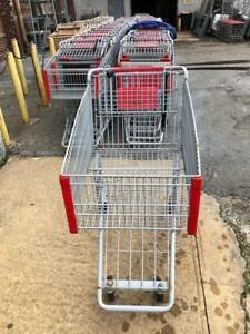 Shopping Carts Gray Metal Lot 48 Discount Store Fixtures Full Size Steel Buggy